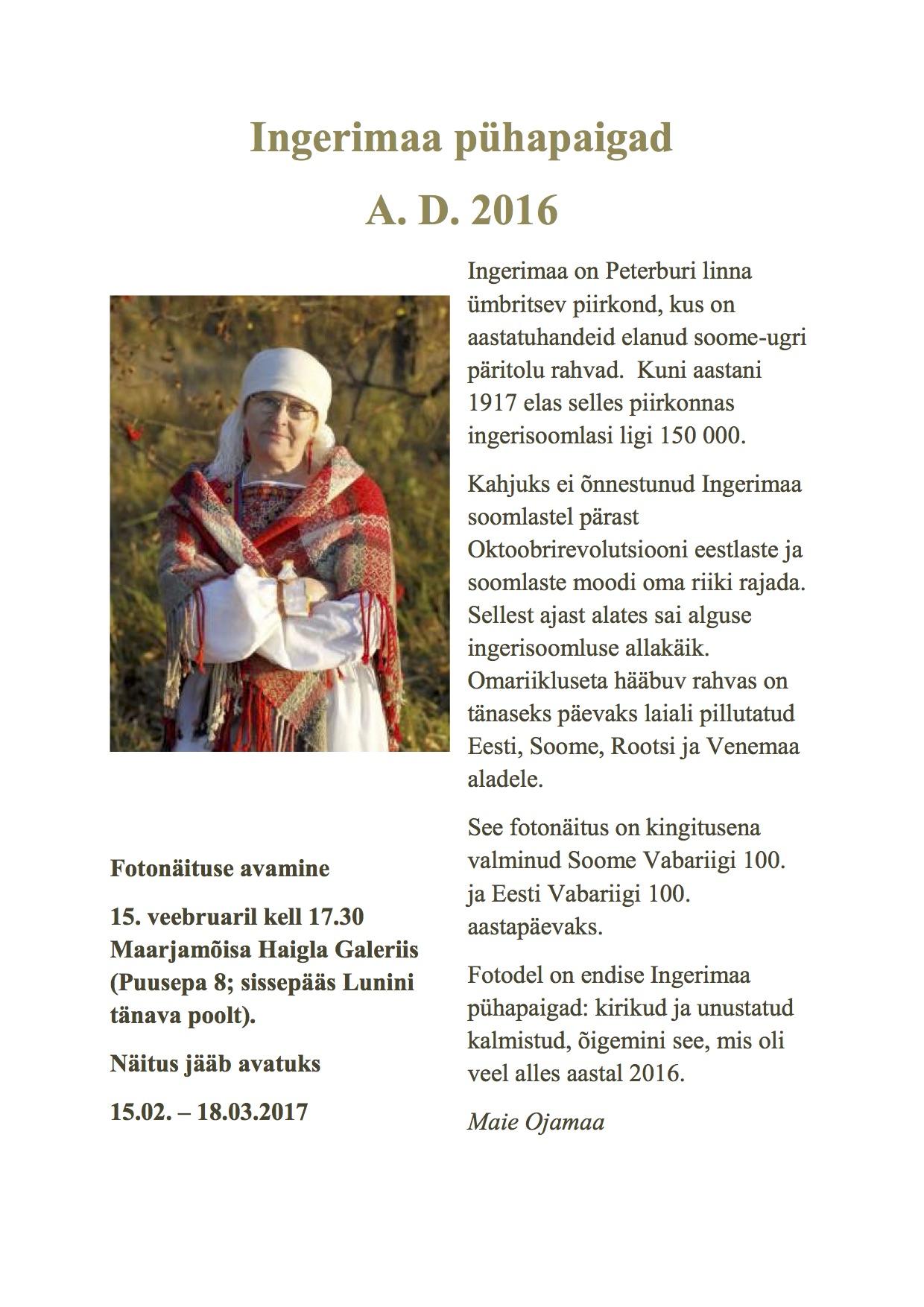 Maie Ojamaa näituse poster